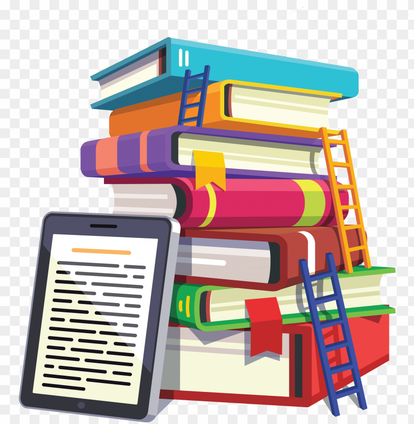free PNG icon of a stack of colorful books with ladders leaning - school PNG image with transparent background PNG images transparent