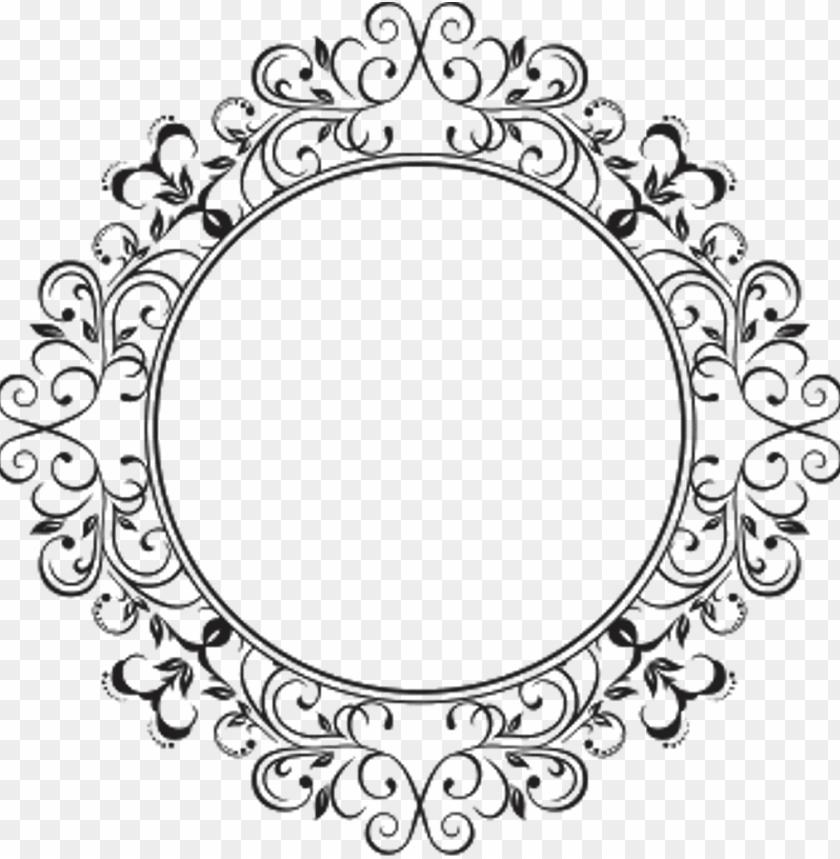 free PNG icture frames decorative borders line art decorative - round design frame PNG image with transparent background PNG images transparent
