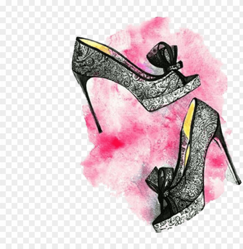 free PNG icture stock chanel court shoe painting lace high - quadro para decorar closet PNG image with transparent background PNG images transparent