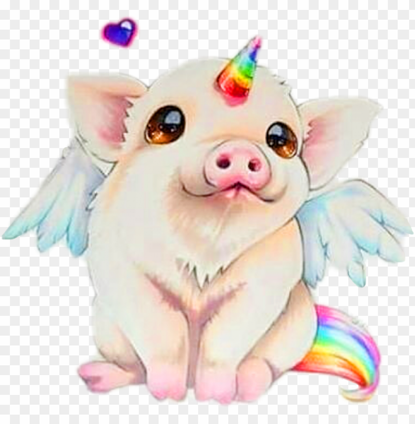 free PNG iggy unicorn pig cute animal fantacy creative remixit - cute pig unicorn drawi PNG image with transparent background PNG images transparent