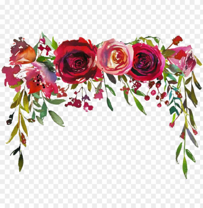 free PNG image du blog zezete2 - burgundy watercolor flower border PNG image with transparent background PNG images transparent