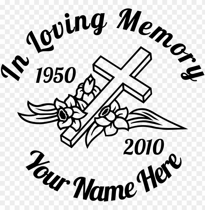 free PNG in loving memory cross with flowers sticker designer - loving memory heart sticker PNG image with transparent background PNG images transparent