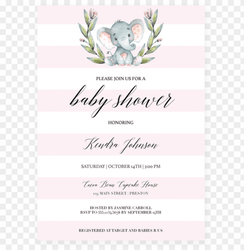 free PNG ink elephant baby shower invitation template download - 50 pink watercolour floral elephant baby shower thank PNG image with transparent background PNG images transparent
