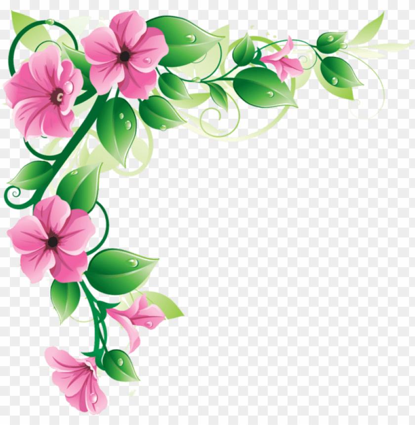 free PNG ink flower border - flower border png clip art PNG image with transparent background PNG images transparent
