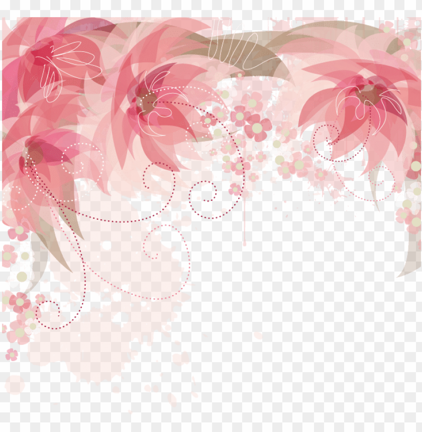 free PNG ink flowers flower border png free photo - pink flower border PNG image with transparent background PNG images transparent