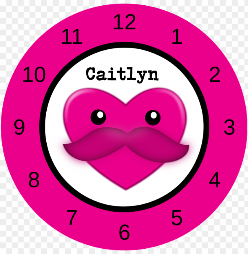 free PNG ink kawaii mustache heart - mädchen wanduhr mit name PNG image with transparent background PNG images transparent
