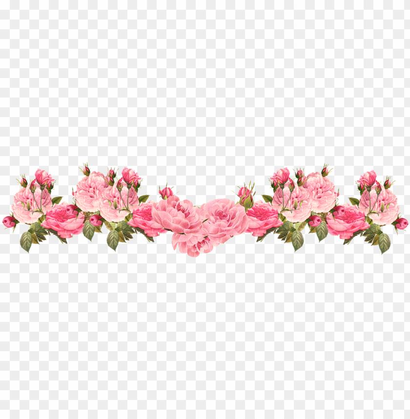free PNG ink rose clipart rose border 20 - vintage flower border PNG image with transparent background PNG images transparent