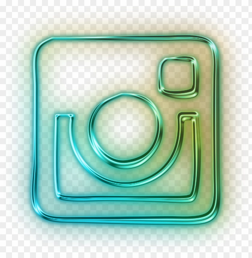 free PNG instagram logo old neon light blue green yellow freetoe - neon instagram icon PNG image with transparent background PNG images transparent
