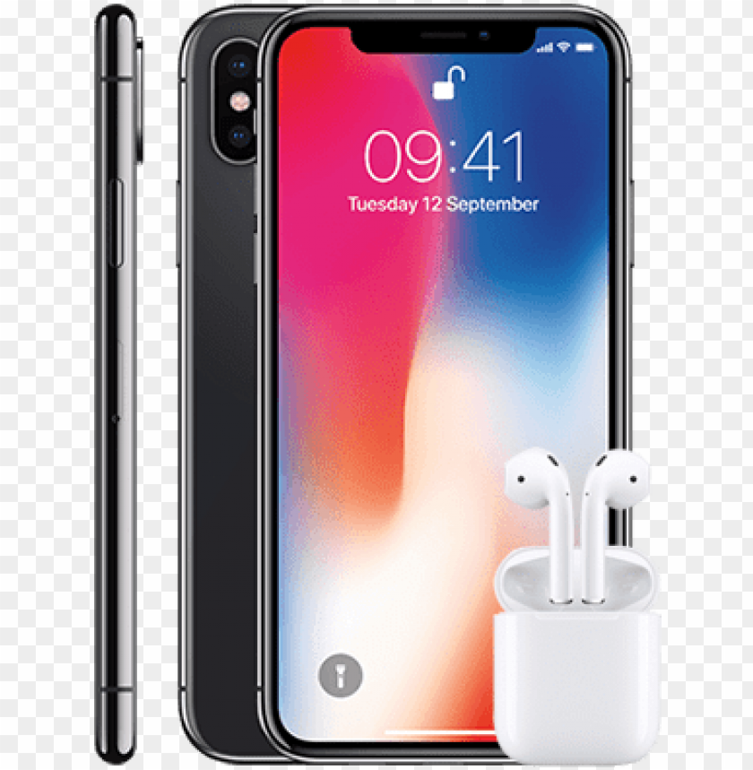 free PNG iphone x 256gb apple airpods - apple iphone x - space grey PNG image with transparent background PNG images transparent