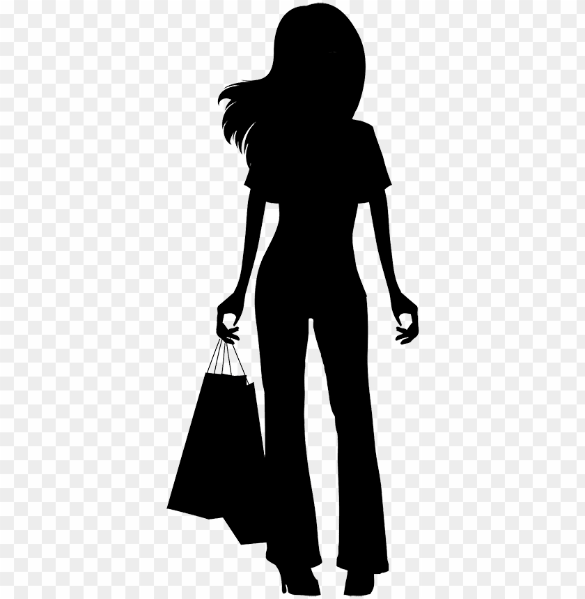 free PNG irl shopping silhouette - girl shopping silhouette PNG image with transparent background PNG images transparent