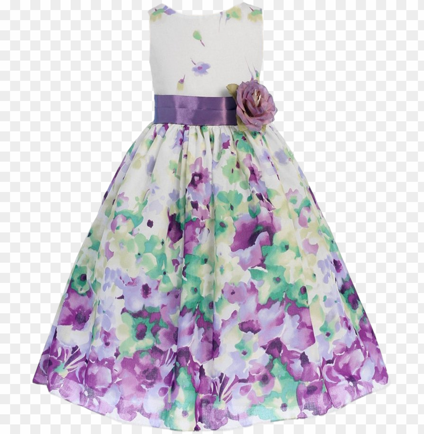 free PNG irls lavender purple watercolor floral cotton dress - dress PNG image with transparent background PNG images transparent