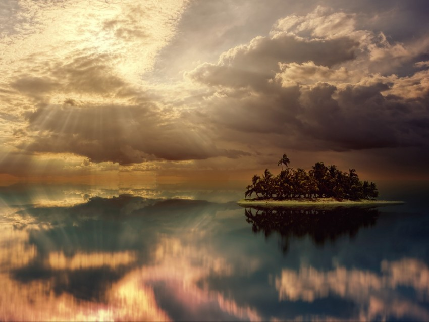 free PNG island, palm trees, ocean, clouds, overcast, cloudy background PNG images transparent