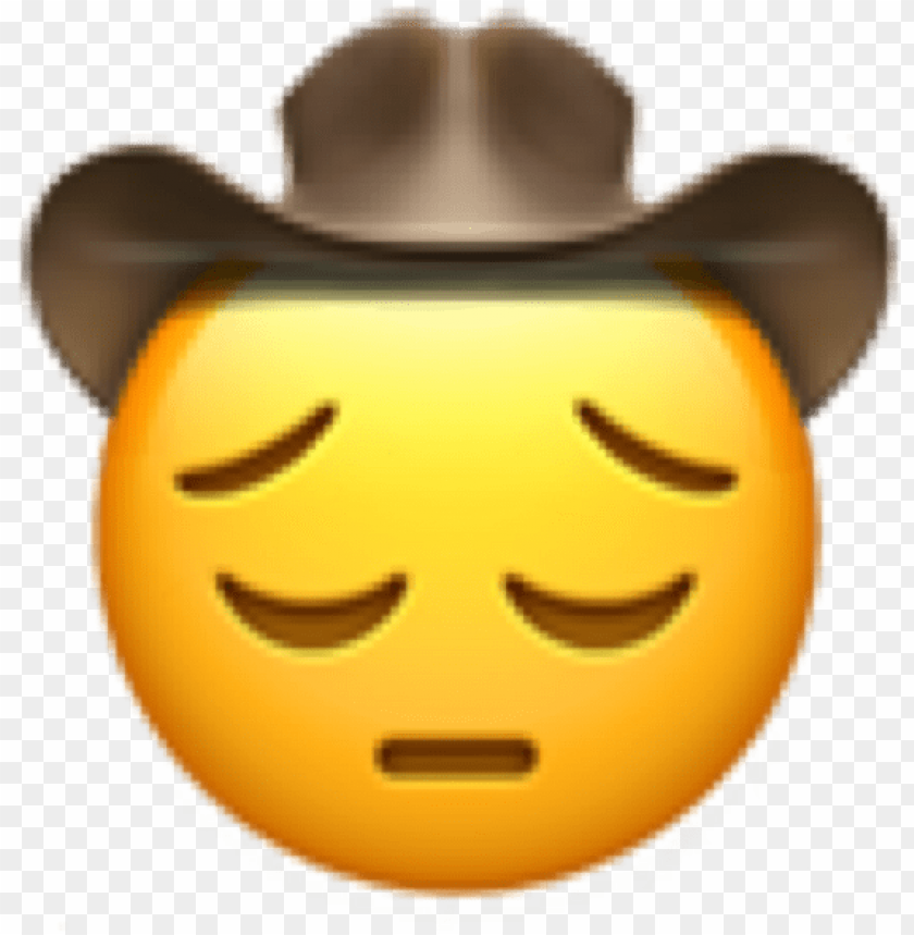 free PNG it's real sad yeehaw hours - emoji cowboy sad PNG image with transparent background PNG images transparent