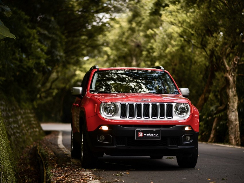 free PNG jeep renegade, jeep, car, suv, red, front view background PNG images transparent