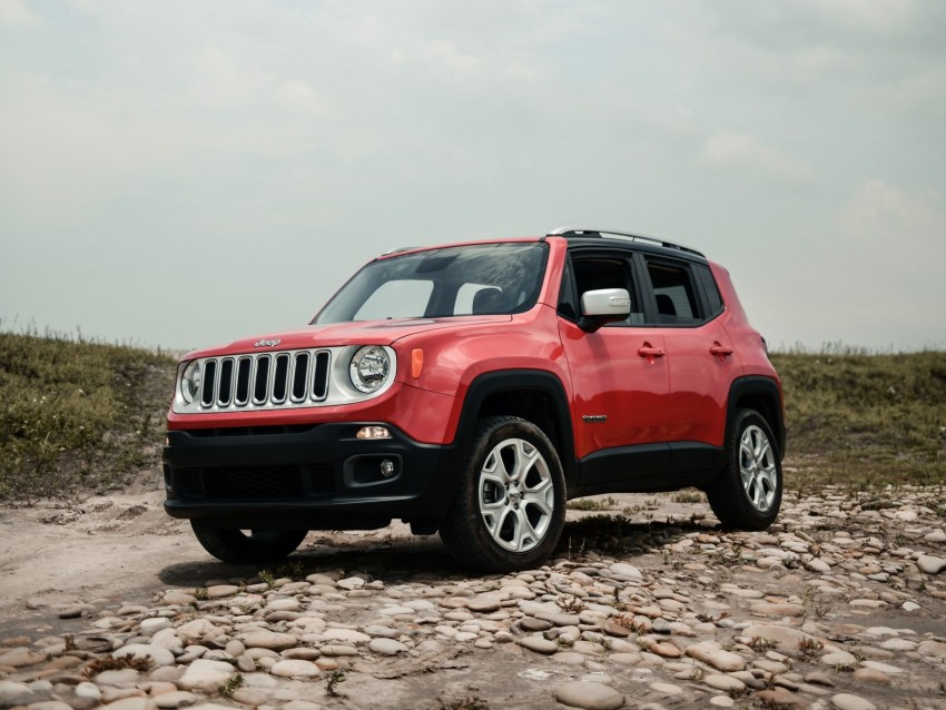 free PNG jeep renegade, jeep, car, suv, red, side view, off-road background PNG images transparent