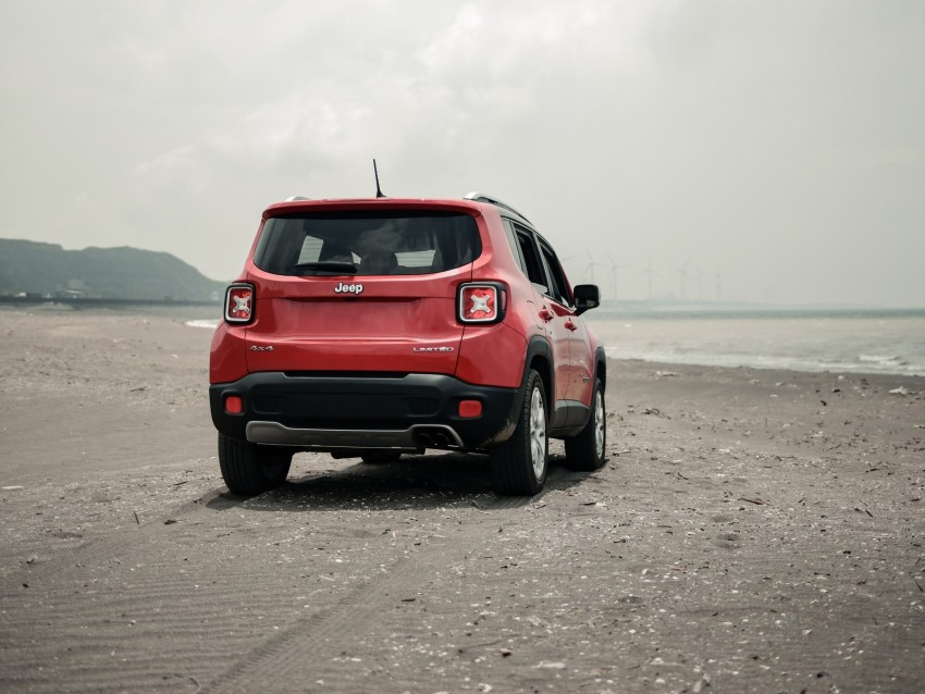free PNG jeep renegade, jeep, suv, red, rear view, beach, off-road background PNG images transparent