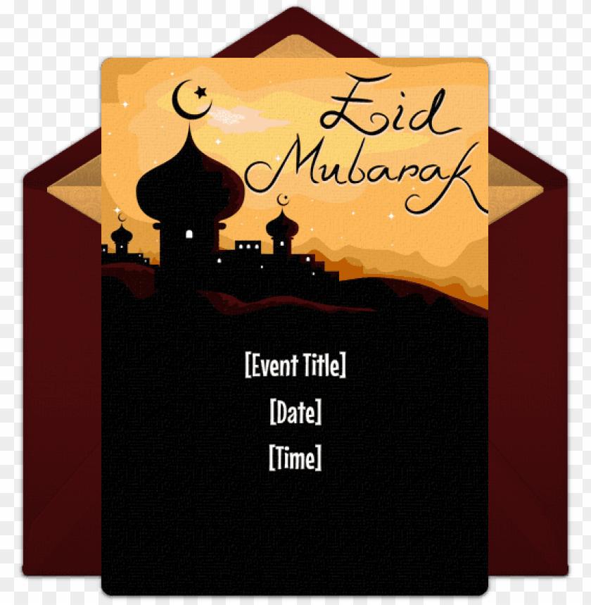 free PNG joyful eid mubarak online invitation - eid mubarak vector PNG image with transparent background PNG images transparent