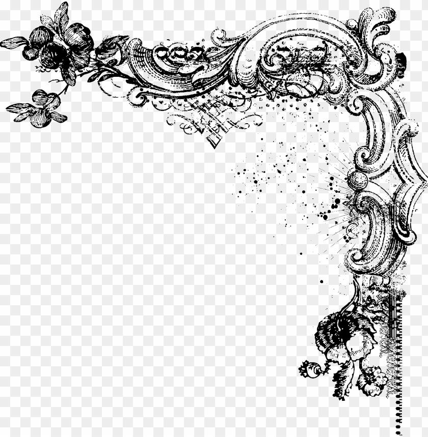 free PNG jpg black and white stock decorative page borders vintage - vintage corner borders PNG image with transparent background PNG images transparent