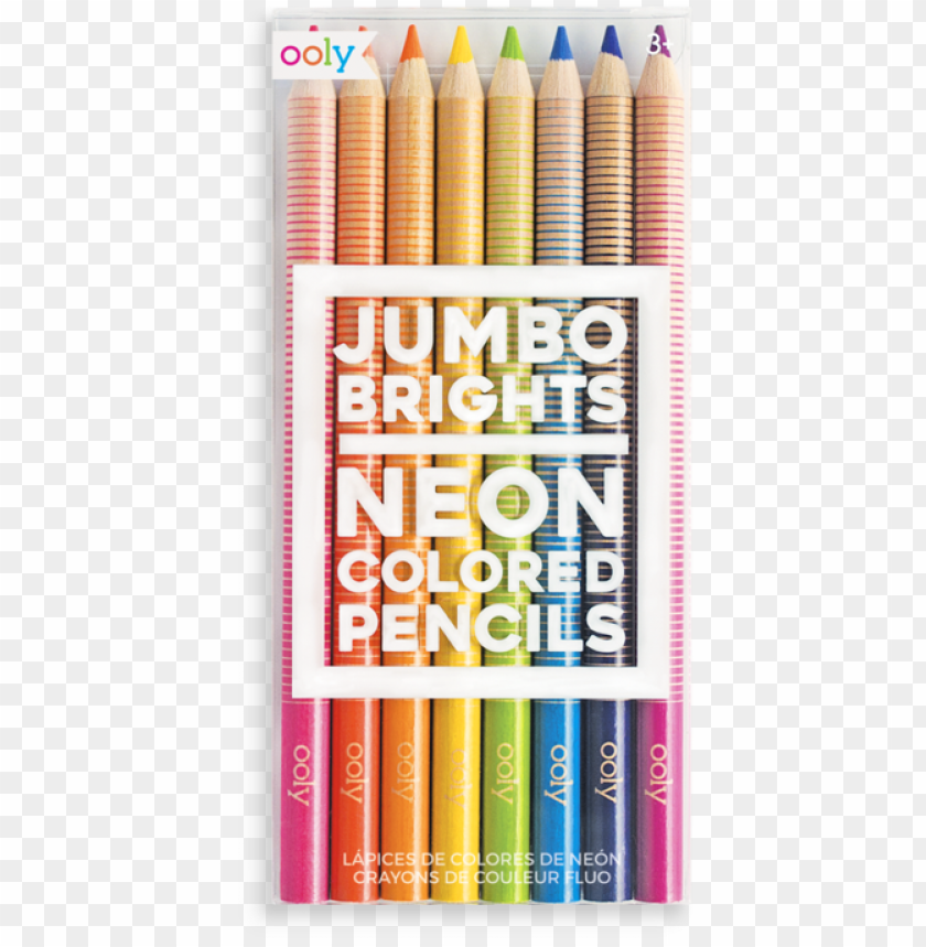 free PNG jumbo brights neon colored pencils - jumbo brights neon colored pencils set of 8 PNG image with transparent background PNG images transparent