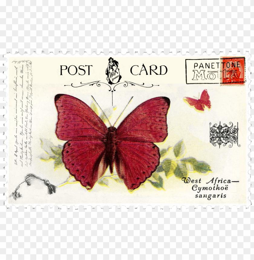 free PNG juno vintage butterfly postage stamp - post stamp vintage PNG image with transparent background PNG images transparent