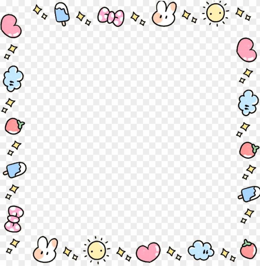 Kawaii Cute Adorable Bunny Pastel Love Heart Frame Fundo Para