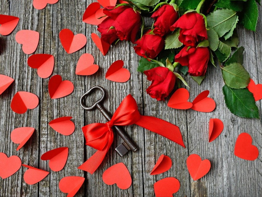free PNG key, ribbon, hearts, roses background PNG images transparent