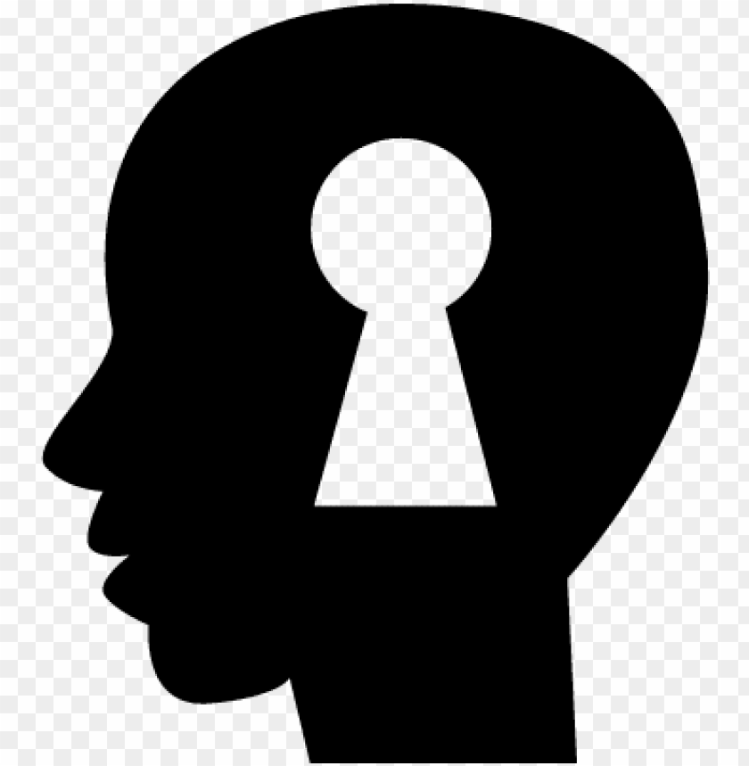 free PNG keyhole shape inside a human bald head side view silhouette - heart in brain logo PNG image with transparent background PNG images transparent