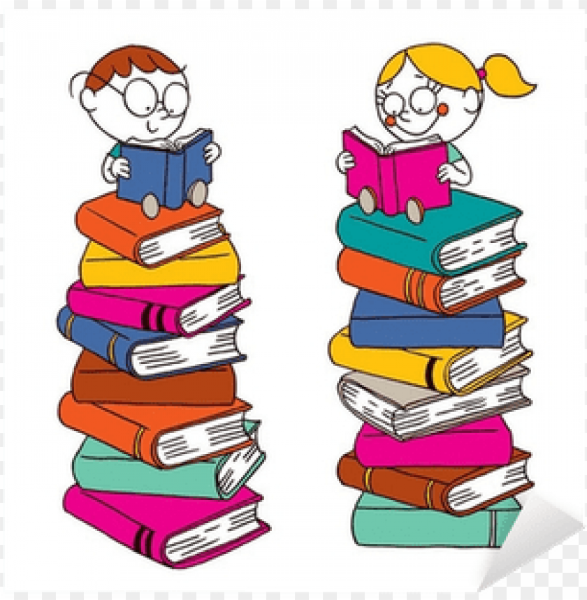 free PNG kids reading on a big pile of books sticker • pixers® - pile of reading books PNG image with transparent background PNG images transparent