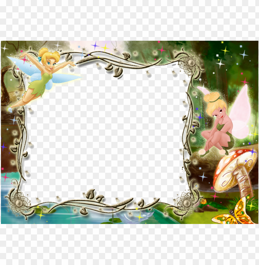 free PNG kids transparent photo frame with tinkerbell - tinkerbell birthday frame PNG image with transparent background PNG images transparent