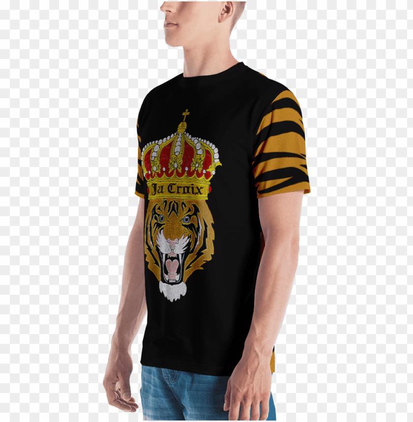 free PNG king tiger print men's t-shirt - pumpkin shirt - halloween shirt - pumpkin costume - PNG image with transparent background PNG images transparent