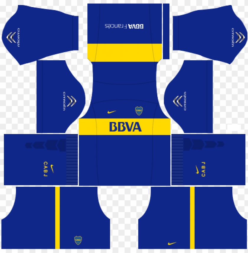 free PNG kit boca junior dls16 uniforme casa - spain kit dream league soccer 2018 PNG image with transparent background PNG images transparent