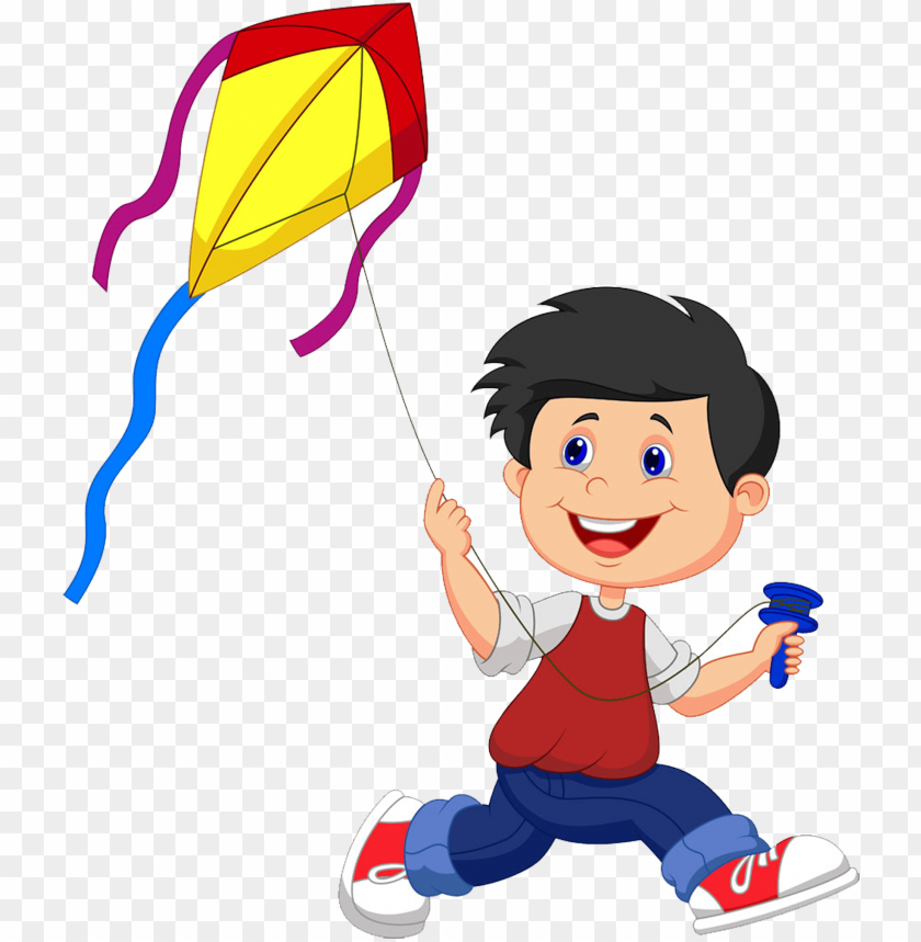 free PNG kite cartoon illustration - boy flying kite clipart PNG image with transparent background PNG images transparent