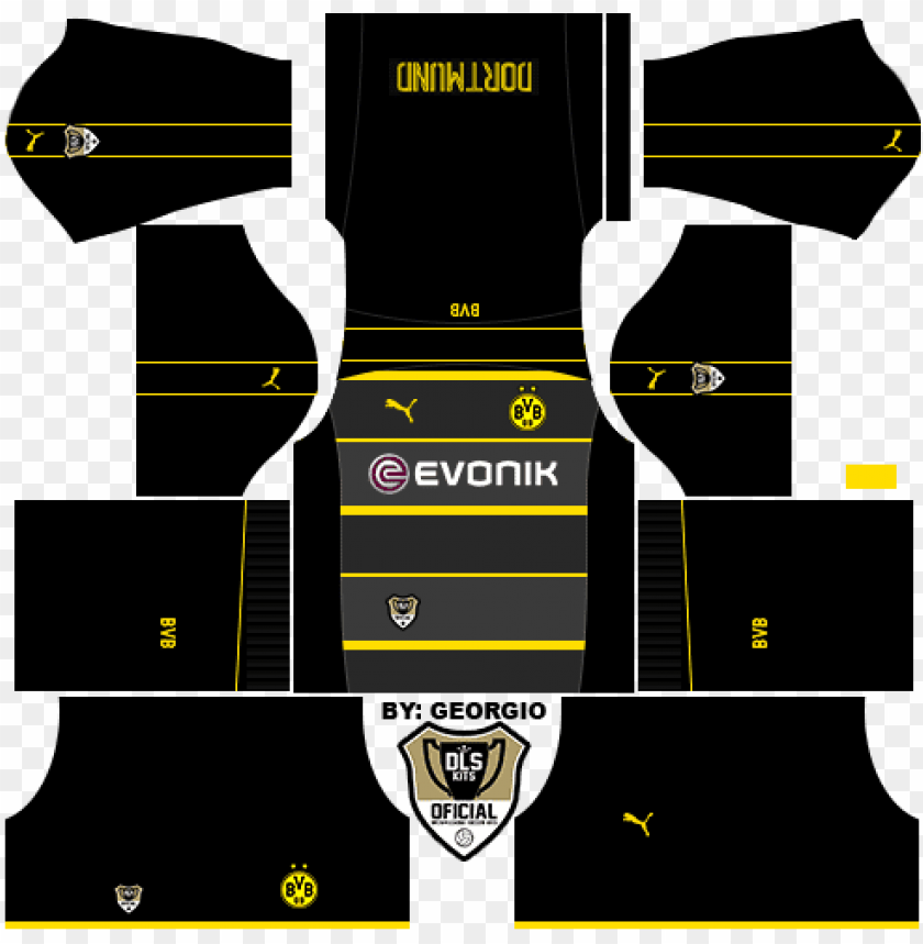free PNG kits ⚫ borussia dortmund ???? dream league soccer 2017 - kits 512x512 real madrid 2019 PNG image with transparent background PNG images transparent