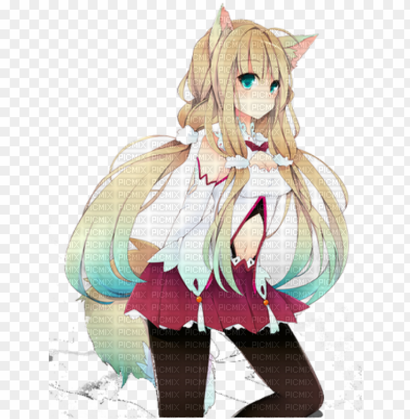 free PNG kitsune girl - anime girl half wolf PNG image with transparent background PNG images transparent