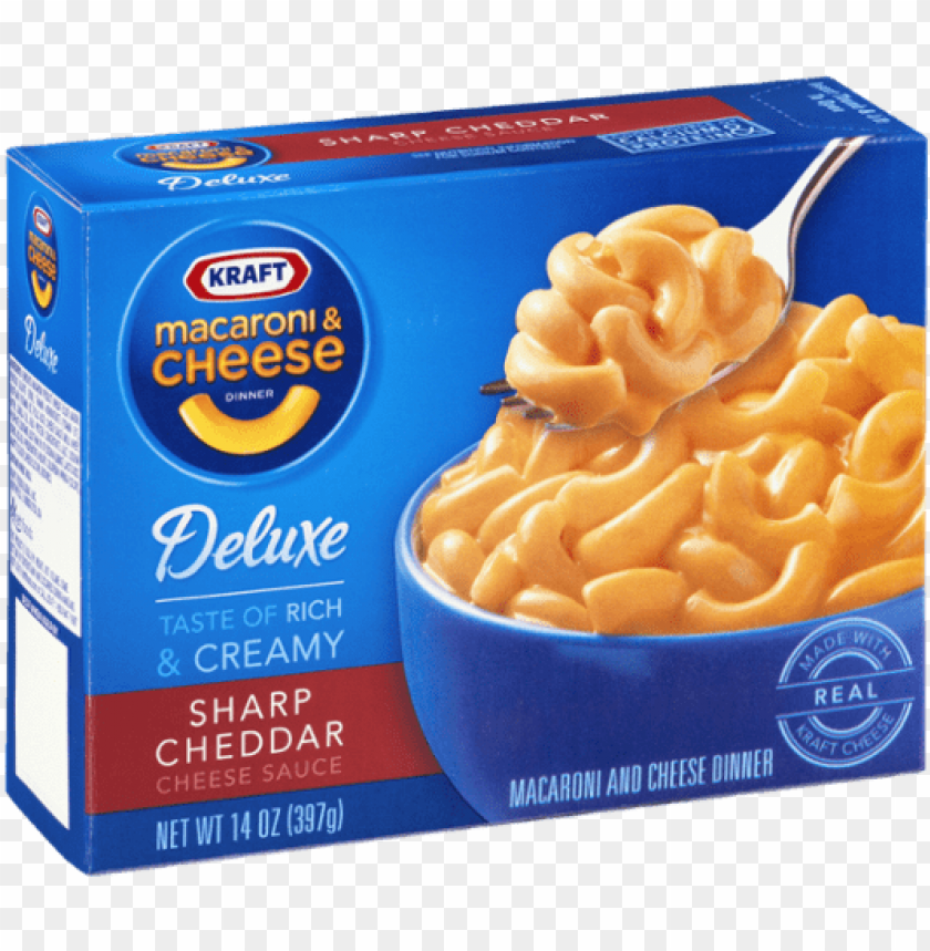 free PNG kraft deluxe macaroni & cheese dinner sharp cheddar - kraft deluxe mac n cheese nutritio PNG image with transparent background PNG images transparent