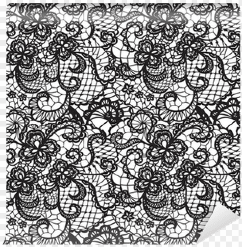 free PNG lace black seamless pattern with flowers on white - lace indian pattern png transparent background PNG image with transparent background PNG images transparent