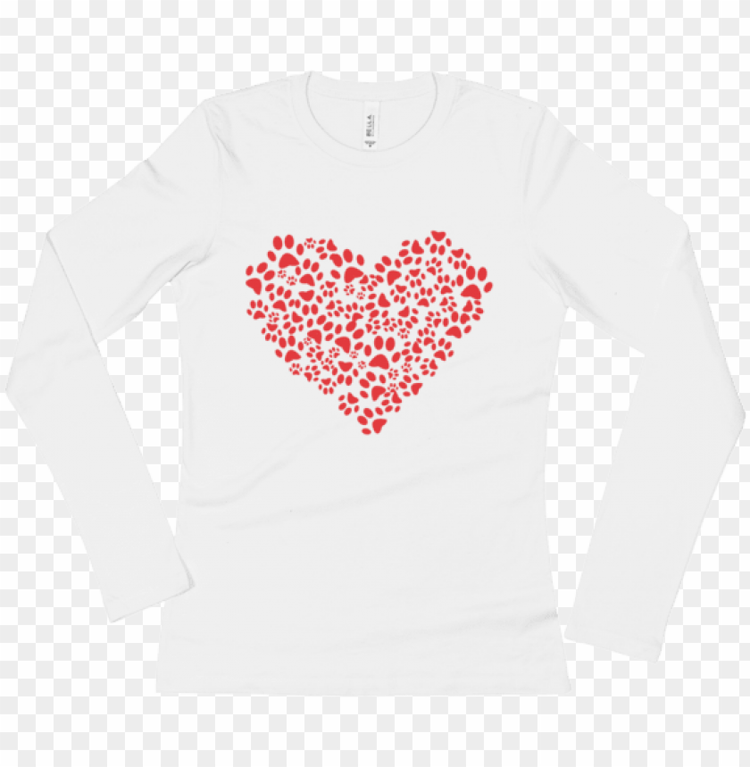 free PNG ladies' animal lover dog cat paws heart long sleeve - stickertalk 4in x 4in paw print heart sticker vinyl PNG image with transparent background PNG images transparent