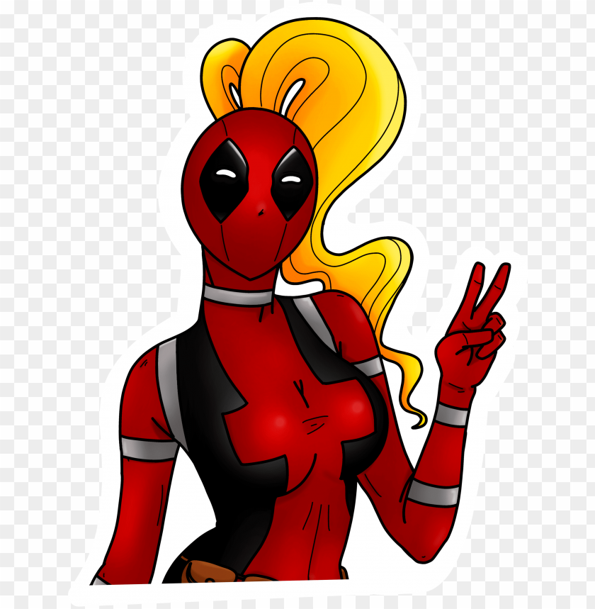 Lady Deadpool Sticker Cartoo Png Image With Transparent