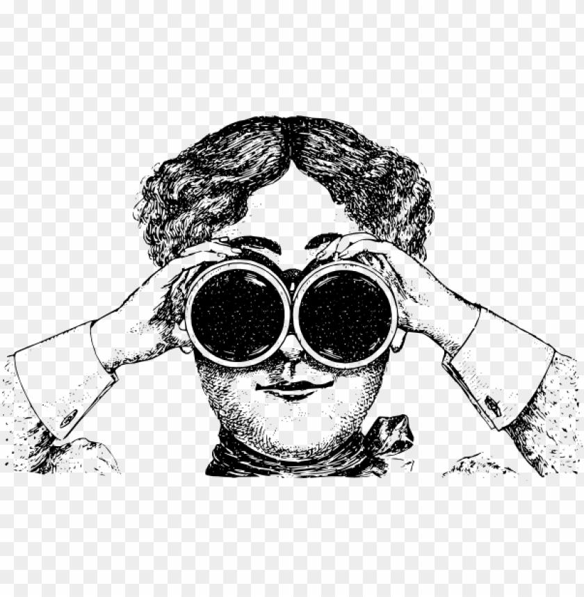 free PNG lady with binoculars clip art - vintage binoculars illustratio PNG image with transparent background PNG images transparent
