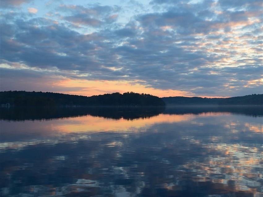 free PNG lake, clouds, reflection, sky, sunset, landscape background PNG images transparent