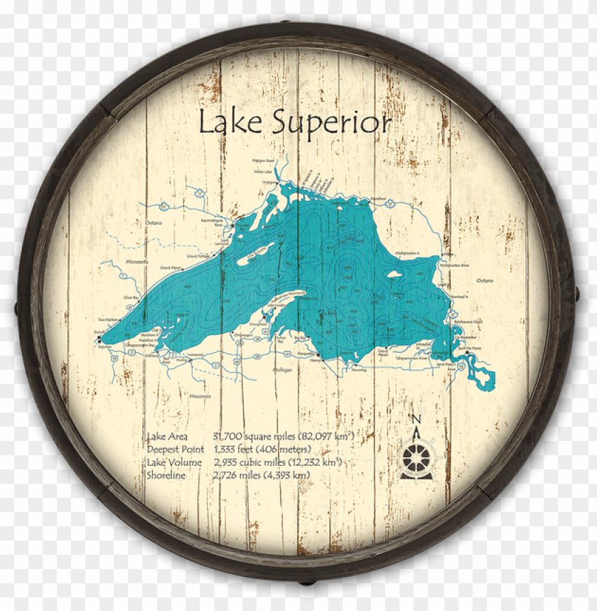 free PNG lake superior wooden barrel end map - great lakes PNG image with transparent background PNG images transparent