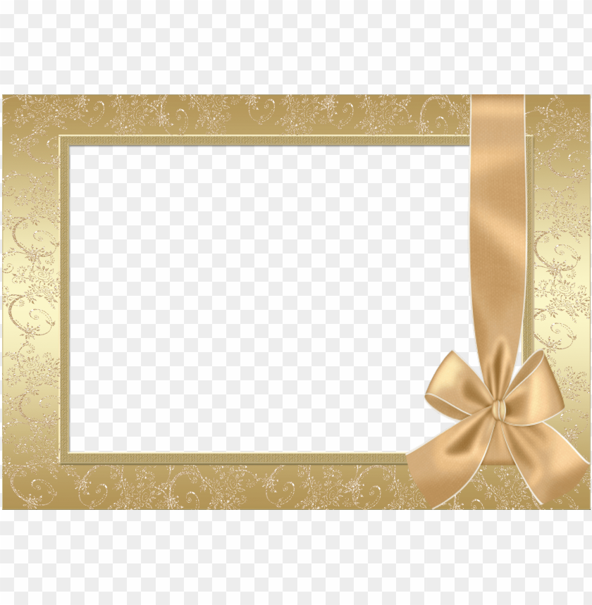 free PNG large gold transparent frame with gold bow background best stock photos PNG images transparent