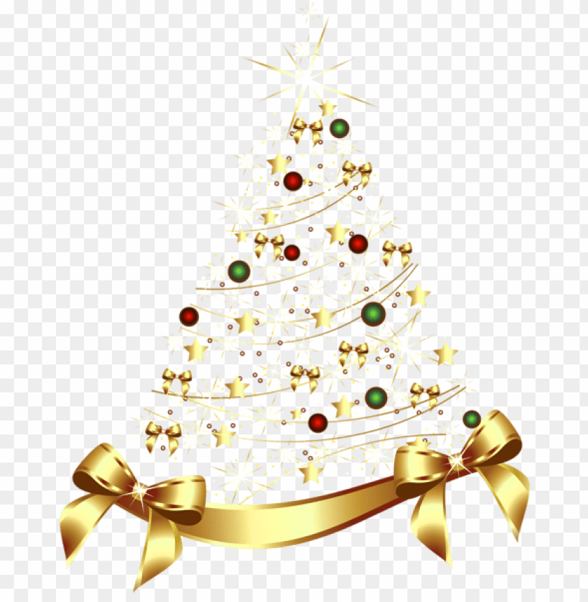free PNG large transparent gold christmas tree with gold bow PNG Images PNG images transparent