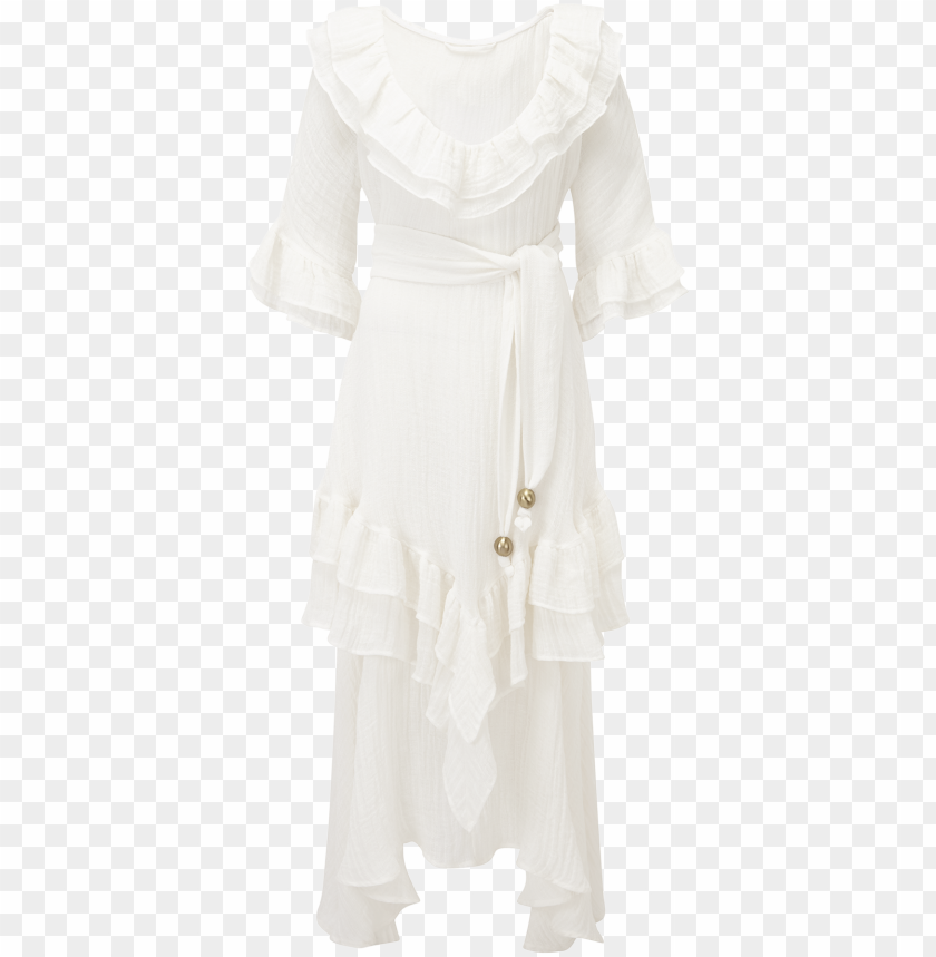 free PNG laura white gauze ruffle dress - gow PNG image with transparent background PNG images transparent