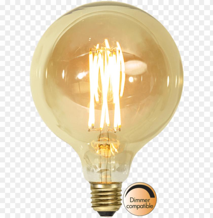 free PNG led lamp e27 g125 vintage gold - led-lampa e27 g125 vintage gold PNG image with transparent background PNG images transparent