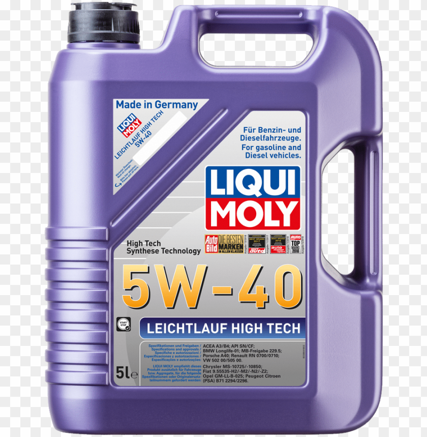 free PNG leichtlauf high tech 5w-40 - liqui moly high tech 5w40 PNG image with transparent background PNG images transparent