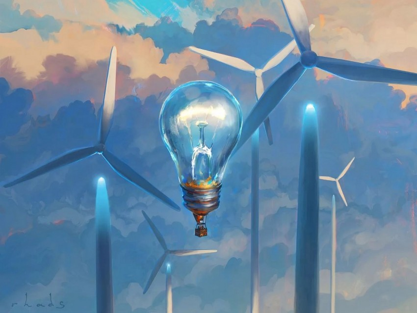 free PNG light bulb, surrealism, windmills, air balloon, aerostat background PNG images transparent