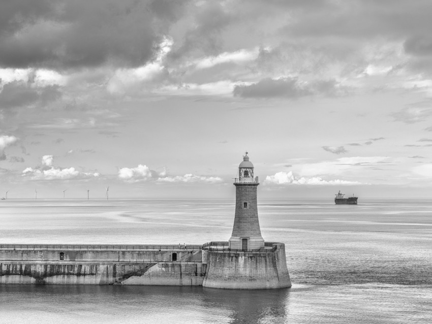 free PNG lighthouse, sea, bw, horizon, sky, clouds background PNG images transparent