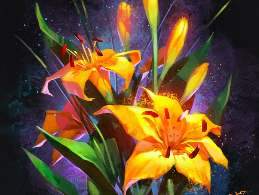 free PNG lilies, bouquet, flowers, yellow background PNG images transparent