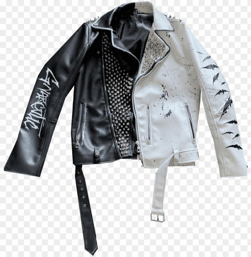 free PNG *limited edition* gnarcotic x castlebasas leather jacket - leather jacket PNG image with transparent background PNG images transparent